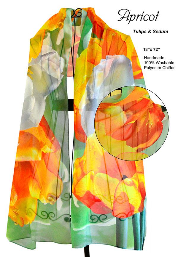 Orange tulips, green sedum, white, yellow flowers, unique, chiffon, soft, scarf