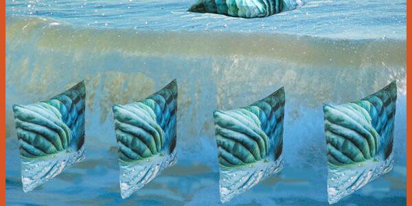 Raindrop is a Paola Pillow of Aqua Hues