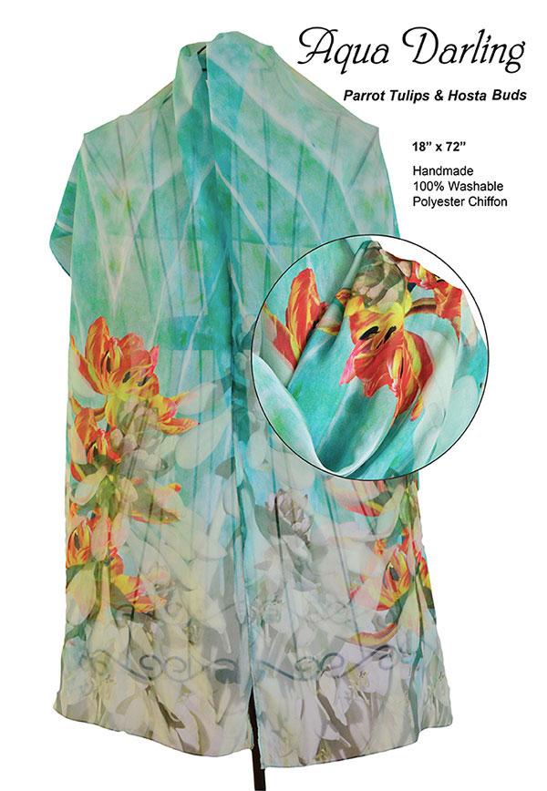 Hosta flowers, orange, parrot tulips, aqua,white, unique, chiffon, soft, scarf