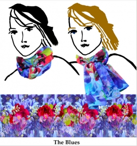 purple, blue red florals, soft handmade chiffon