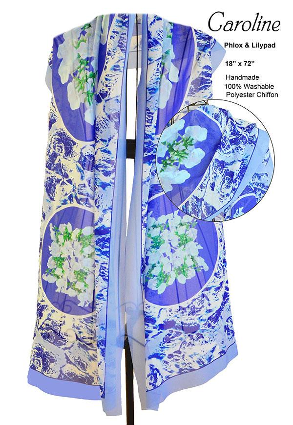 phlox, white, blue, flowers, unique, chiffon, soft, scarf