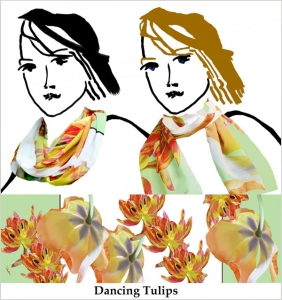 Large orange tulips on mint green and white printed chiffon.
