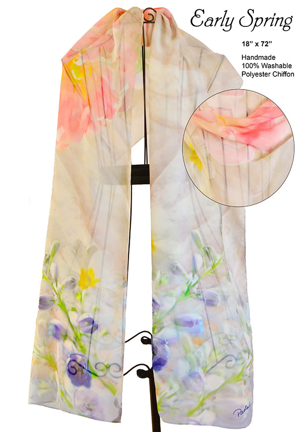 peonies, delphinium, tan, pink, flowers, unique, chiffon, soft, scarf