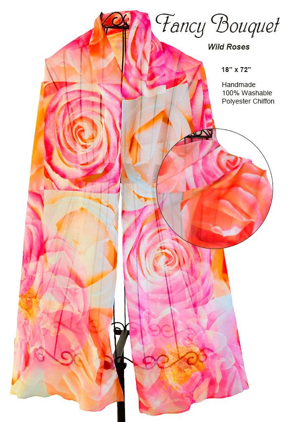 roses, hot pink, orange, flowers, unique, chiffon, soft, scarf