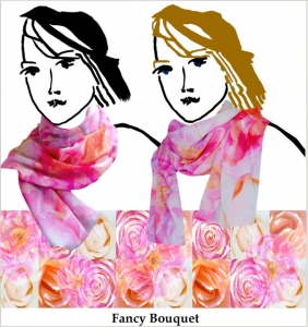 roses, pale orange, pink squares, chiffon, scarf, handmade, floral, soft colors