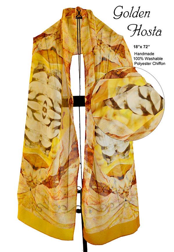 Autumn, hosta, gold, tan, chiffon, unique, scarf