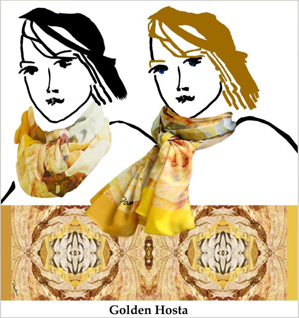 tan, brown, gold, geometric design, hosta leaf, chiffon, handmade, unique, scarf