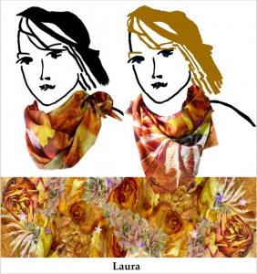Laura, scarf, rust, handmade chiffon