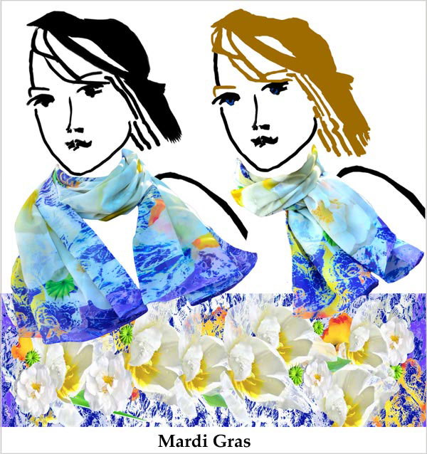 Mardi Gras colors,Tropical colors of blue, yellow, violet and white flower, tulips, colorful, soft chiffon