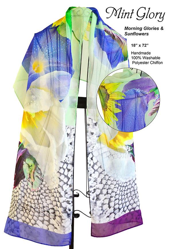 sunflower, morning glories, blue, white, flowers, unique, chiffon, soft, scarf