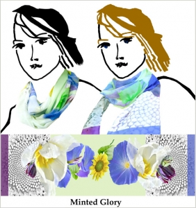 blue morning glories, yellow sunflowers, pale green, printed chiffon, purple parrot tulips,