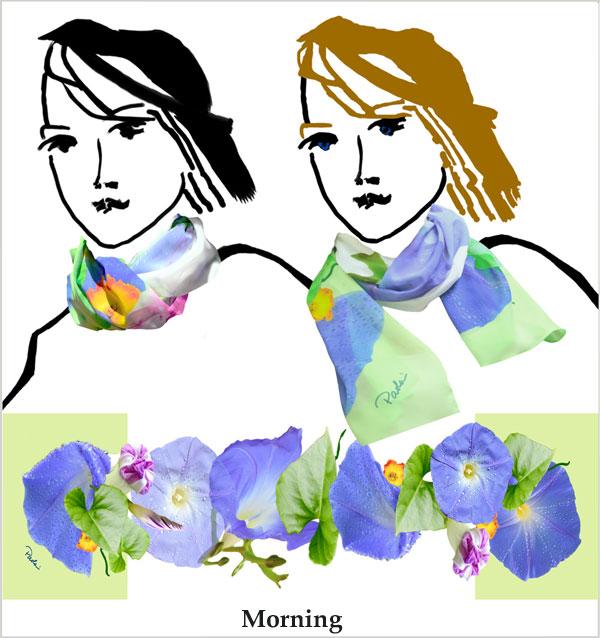 Morning Glory, blues, green, leaves, daffodils, soft chiffon, white, scarf