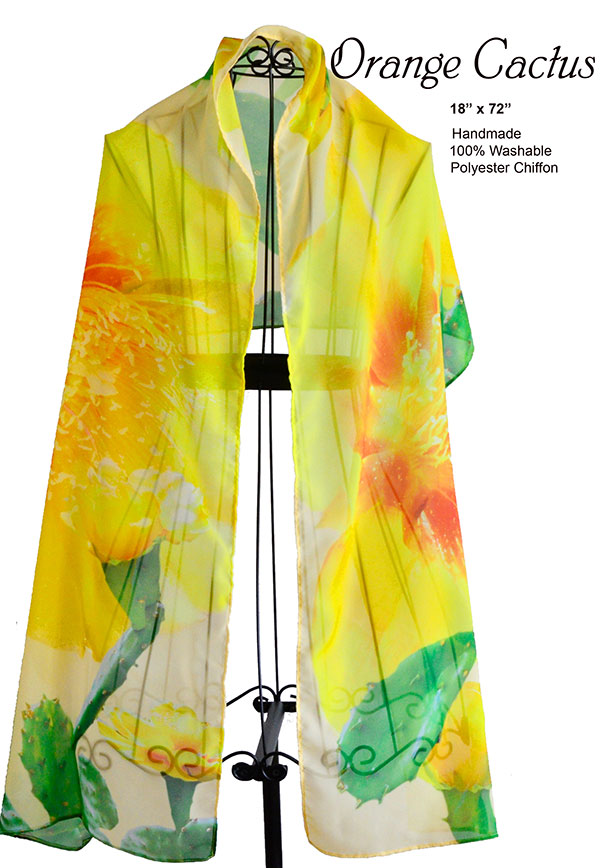 Yellow Cactus Flower,Orange Chiffon, unique, handmade, scarf