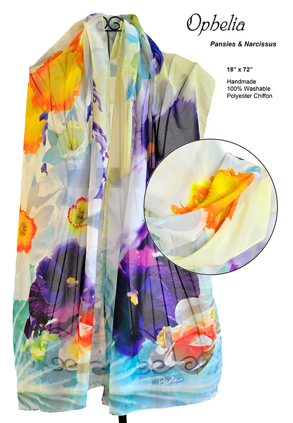 pansies, narcissus, flowers, unique, chiffon, soft, scarf