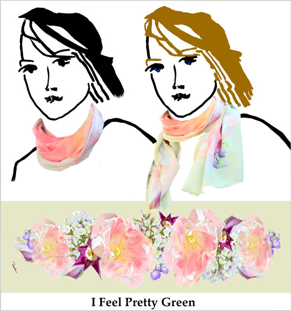 Pale pink tulips, white and scarlet flowers, light green chiffon, handmade scarf