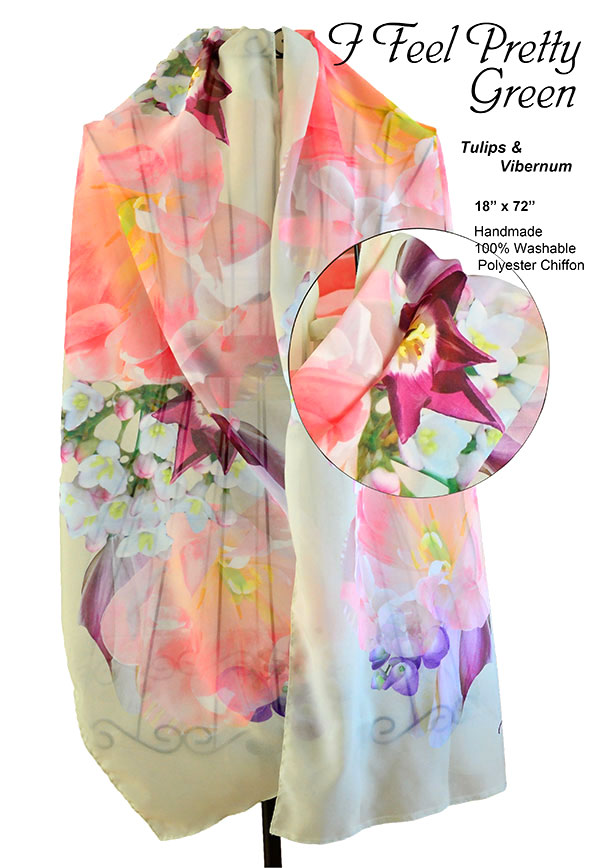tulips, viburnum, flowers, unique, chiffon, soft, scarf