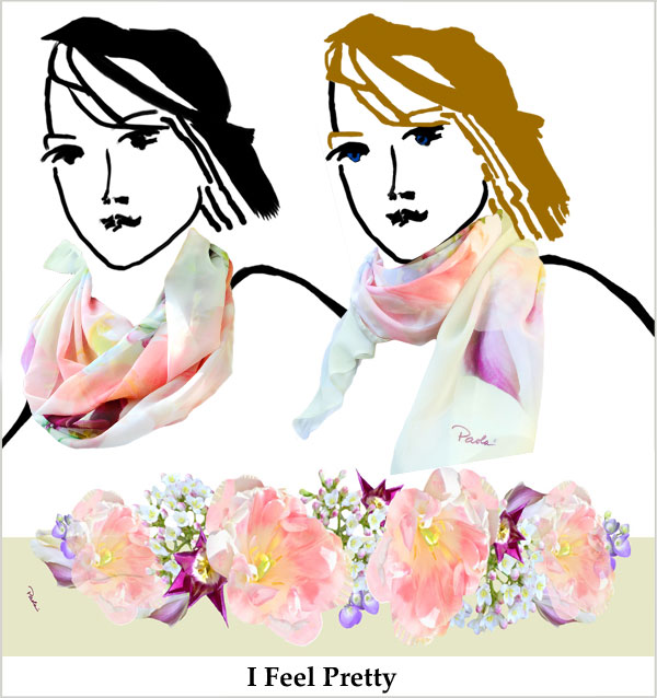 Pale pink tulips and white flowers, overprinted green and white chiffon, handmade scarf