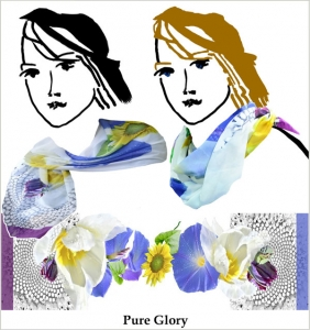 blue morning glories, yellow sunflowers, pale green, printed chiffon, purple parrot tulips