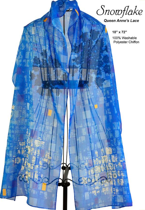 hydrangea, blue, chiffon scarf