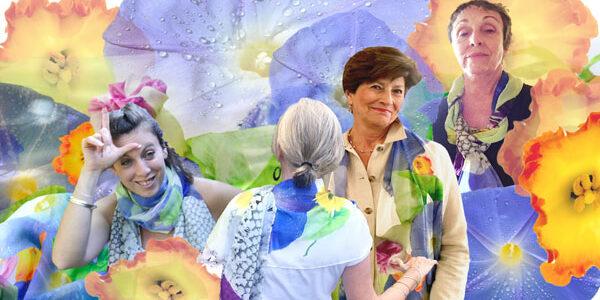Ladies Wearing Colorful Scarves