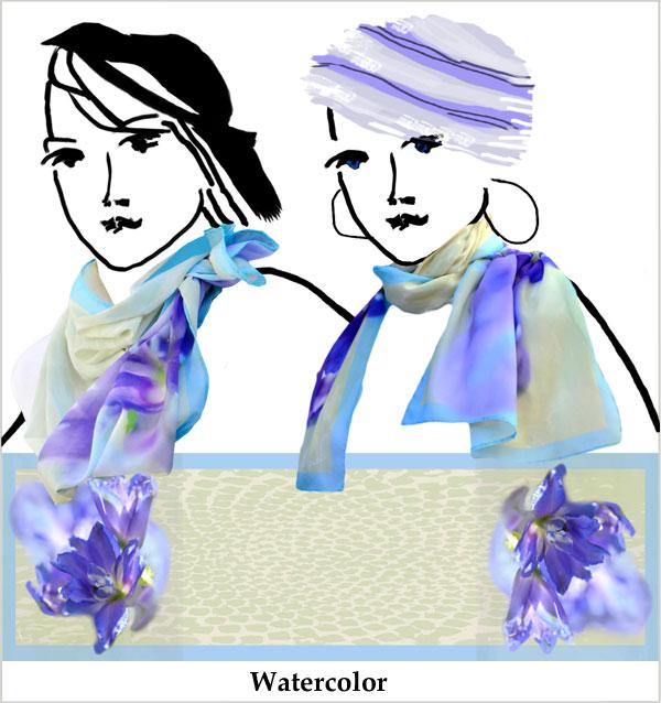 Purple, blue, delphinium, watercolor, soft sage print