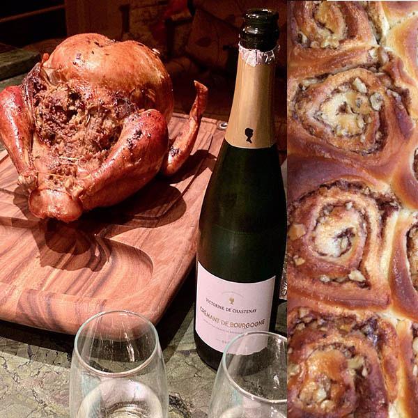 fresh, organic turkey, cinnamon rolls
