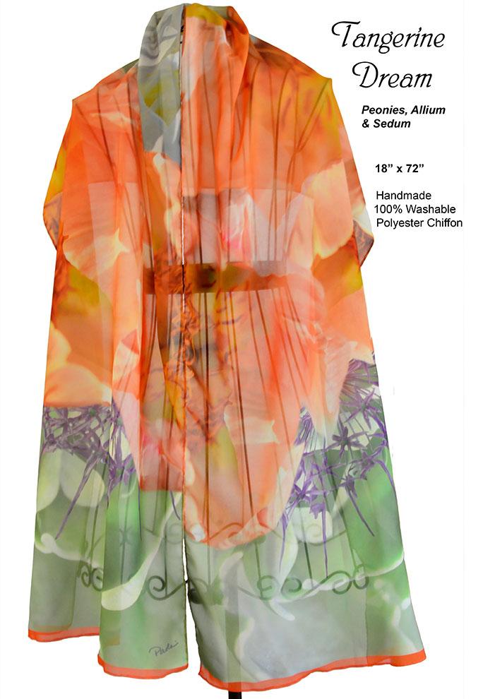 Orange Peonies, Purple Allium, Green Sedum chiffon, scarf